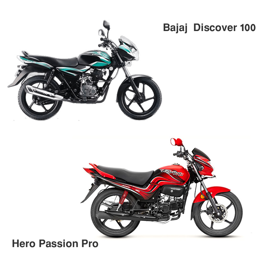 Hero Passion Pro Vs Bajaj Discover 100