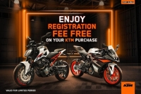KTM is offering Free Registration and Home Delivery