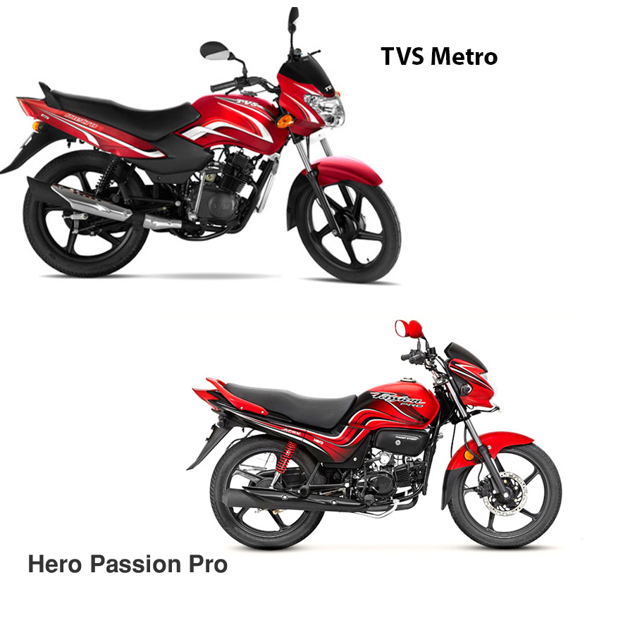 Hero Passion Pro Vs TVS Metro