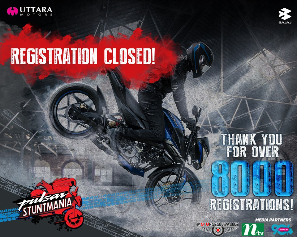 8000+ registrations for Pulsar StuntMania
